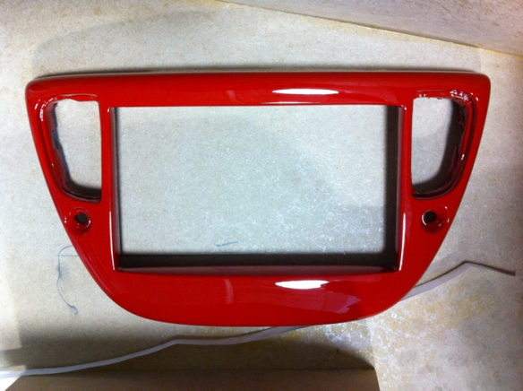 Custom made and painted Ferrari Red for the double din to be installed.