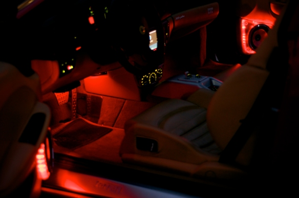 Red LED lighting under the dash.