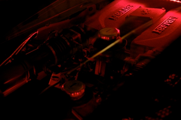 Red LED lighting in the engine bay