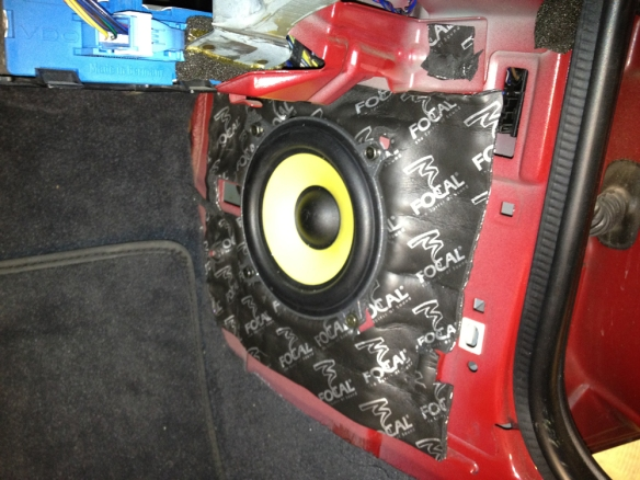 OEM speaker replaced with FOCAL K2 Power component set. Metal insulated. No un wanted vibrations here!