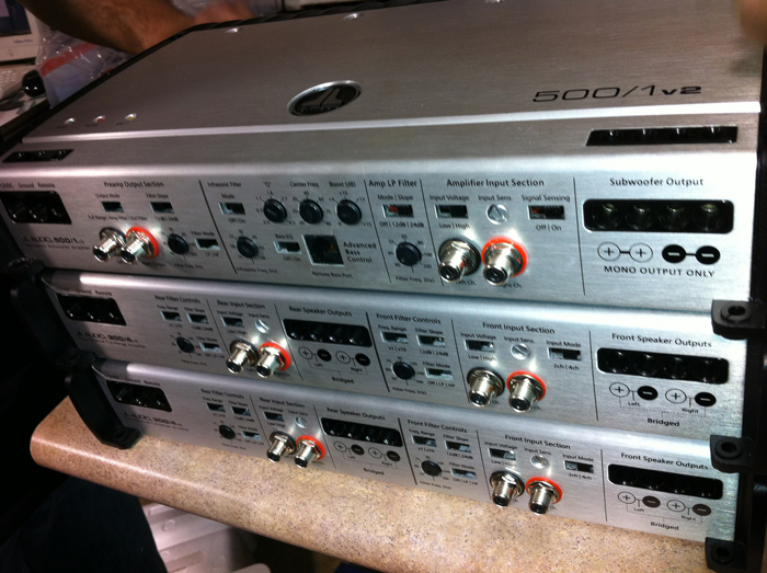 Three JL Audio slash amplifiers powering the focal speaker components & the Logic 7 system to get better sound.