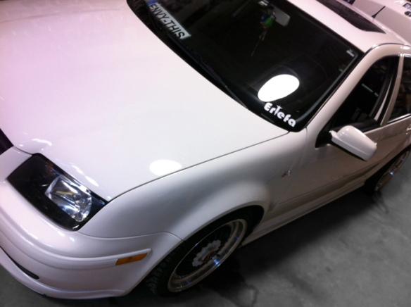 This super clean Jetta is in for a clean trunk setup. Serious bass!