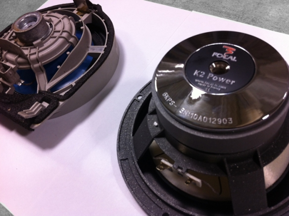 On the left is the orginal acura speaker. To the right is the Focal 165 KR driver