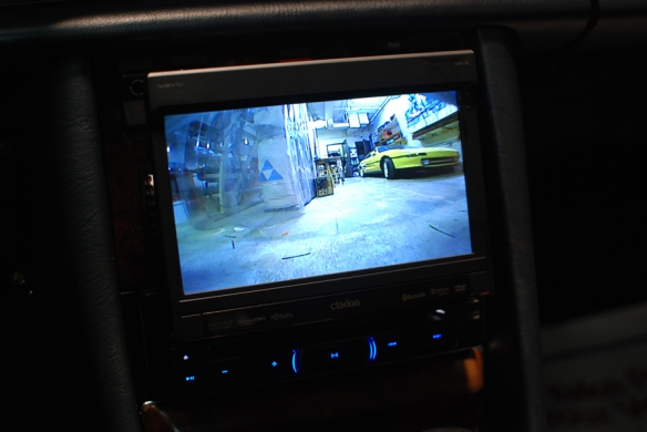 In-Dash touch screen with a rear cam input and front cam input.