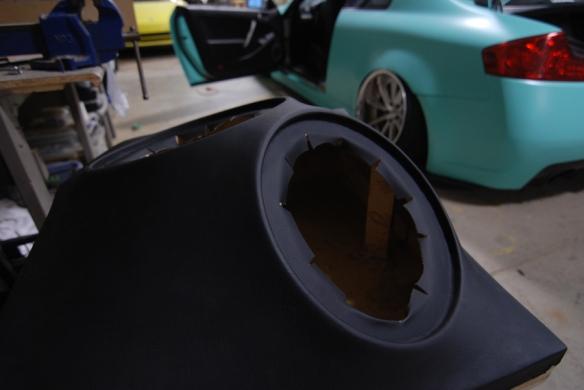 """Custom made fiberglass enclosures for four 12"""" subwoofers."""