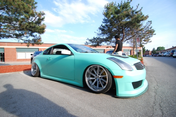 Mint green G35 with Air Ride suspension and a crazy sound system by ULTRA