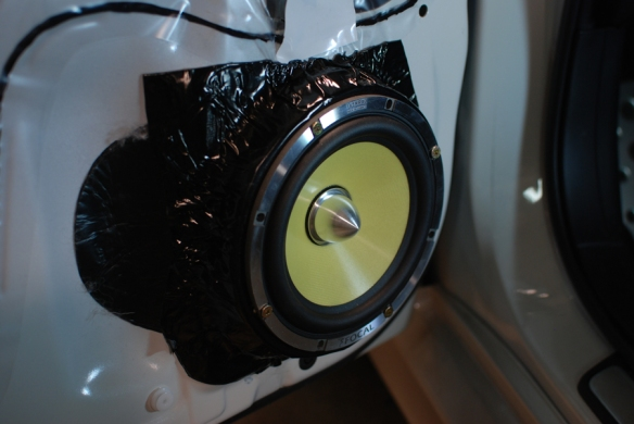 Focal 165 KRX2 speakers installed in the front doors. Spacers used to bring out the speaker so it does not touch the glass.
