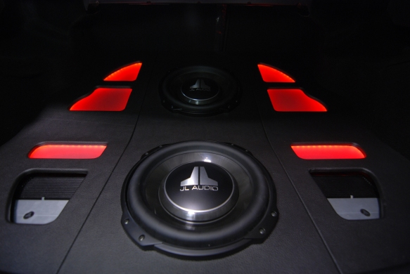 Two JL Audio XD300/1 amplifiers used to keep it a symmetrical design.