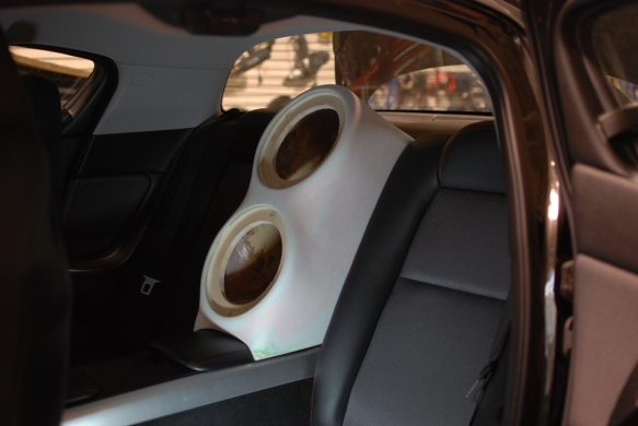"Two 8"" subwoofers inside the cabin"