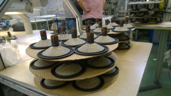 Focal's new Flax cone speakers being built