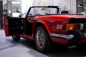 Classic British Car Triumph TR6 getting car audio work done at Ultra Auto Sound