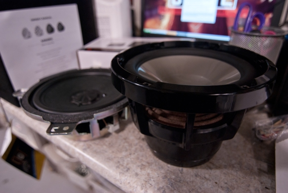 Original vs new JL Audio M Series infinite baffle subwoofer