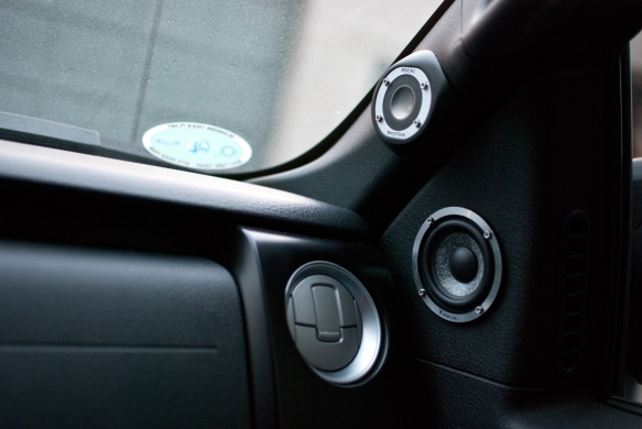 Custom fitted speakers on doors